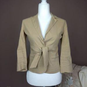 Theory Jacket Blazer Linen Blend Sz 2 Tie Front B5